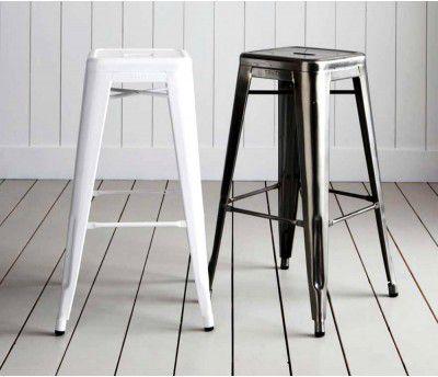 Kit 2 Banquetas Design Tolix Pelegrin PEL-1516 Fixa em Metal Branca
