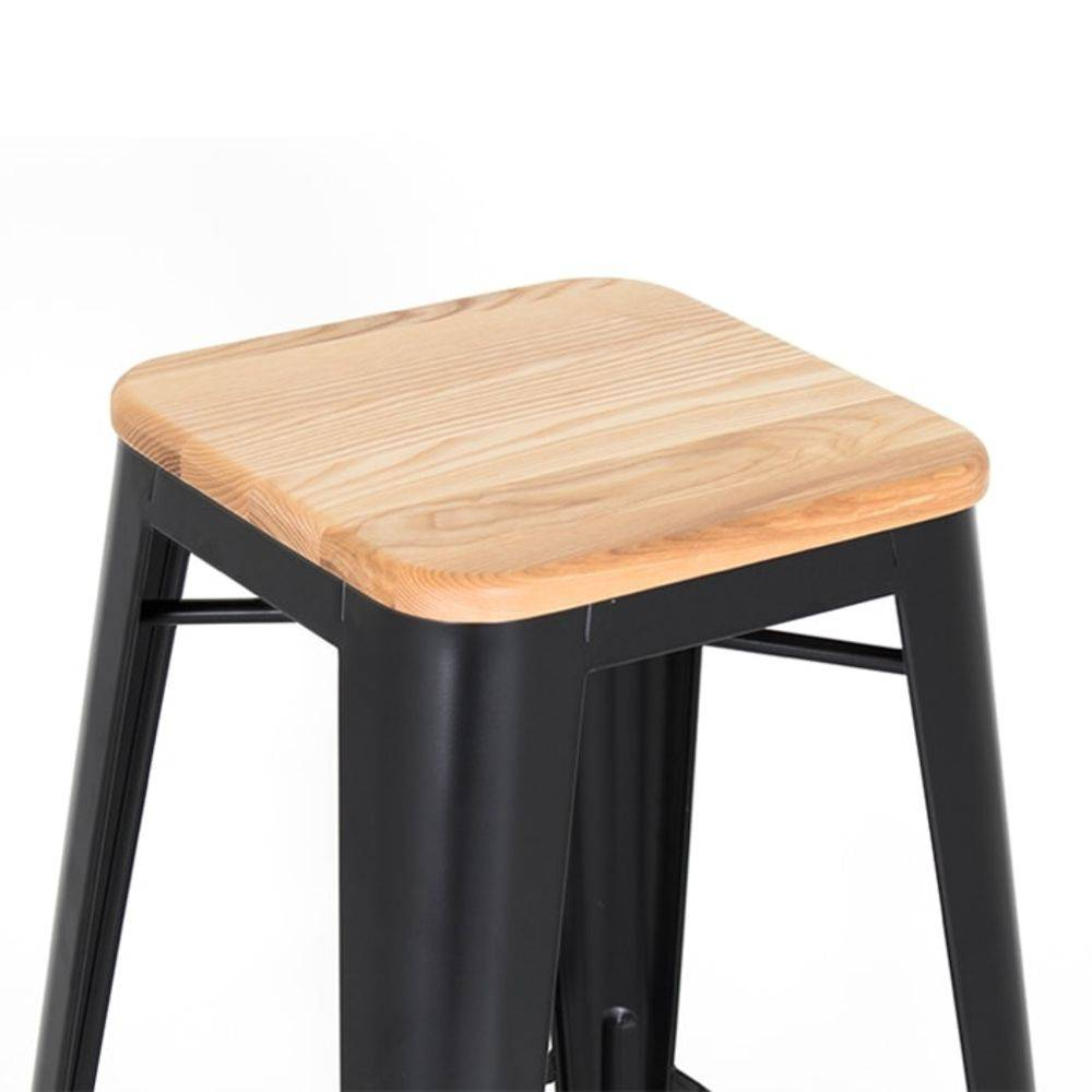 Kit 2 Banquetas Design Tolix Preta Assento em Madeira Pelegrin PEL-1514 Fixa em Metal