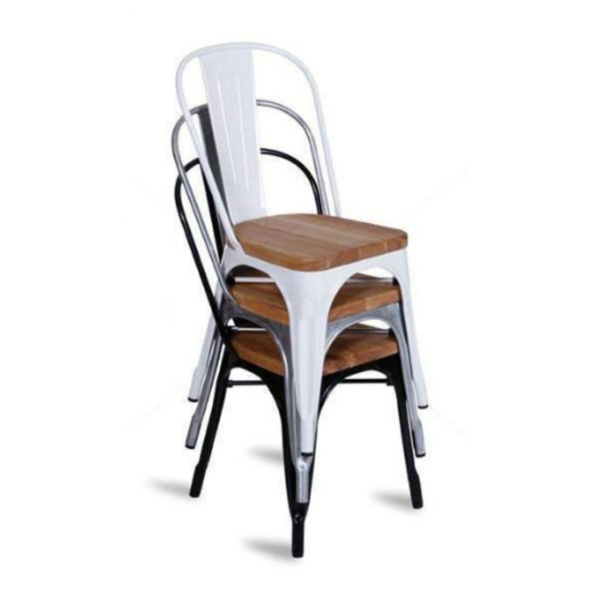 Kit 2 Cadeiras Design Tolix Metal Assento em Madeira Pelegrin PEL-1520