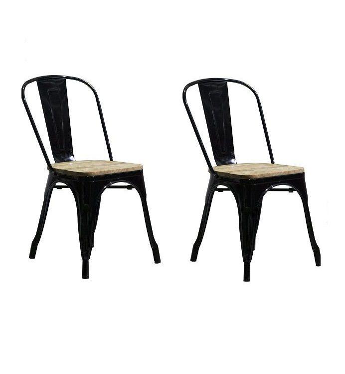 Kit 2 Cadeiras Design Tolix Metal Assento em Madeira Pelegrin PEL-1520 Preta