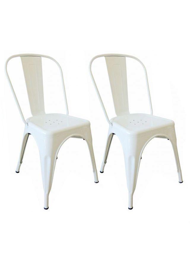 KIT 2 Cadeiras Design Tolix Metal Pelegrin PEL-1518 Cor Branca