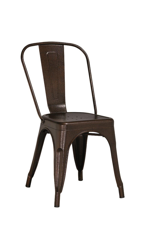 KIT 2 Cadeiras Design Tolix Metal Pelegrin PEL-1518 Cor Bronze