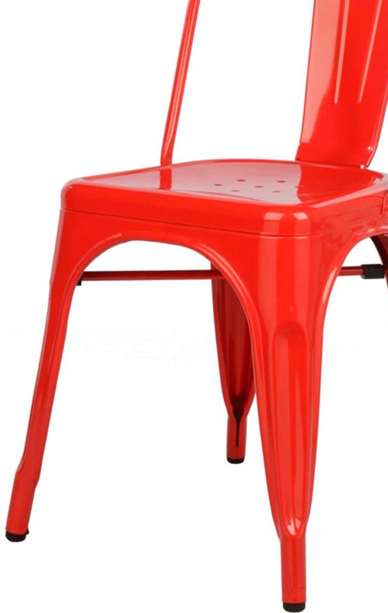 KIT 2 Cadeiras Design Tolix Metal Pelegrin PEL-1518 Cor Vermelha
