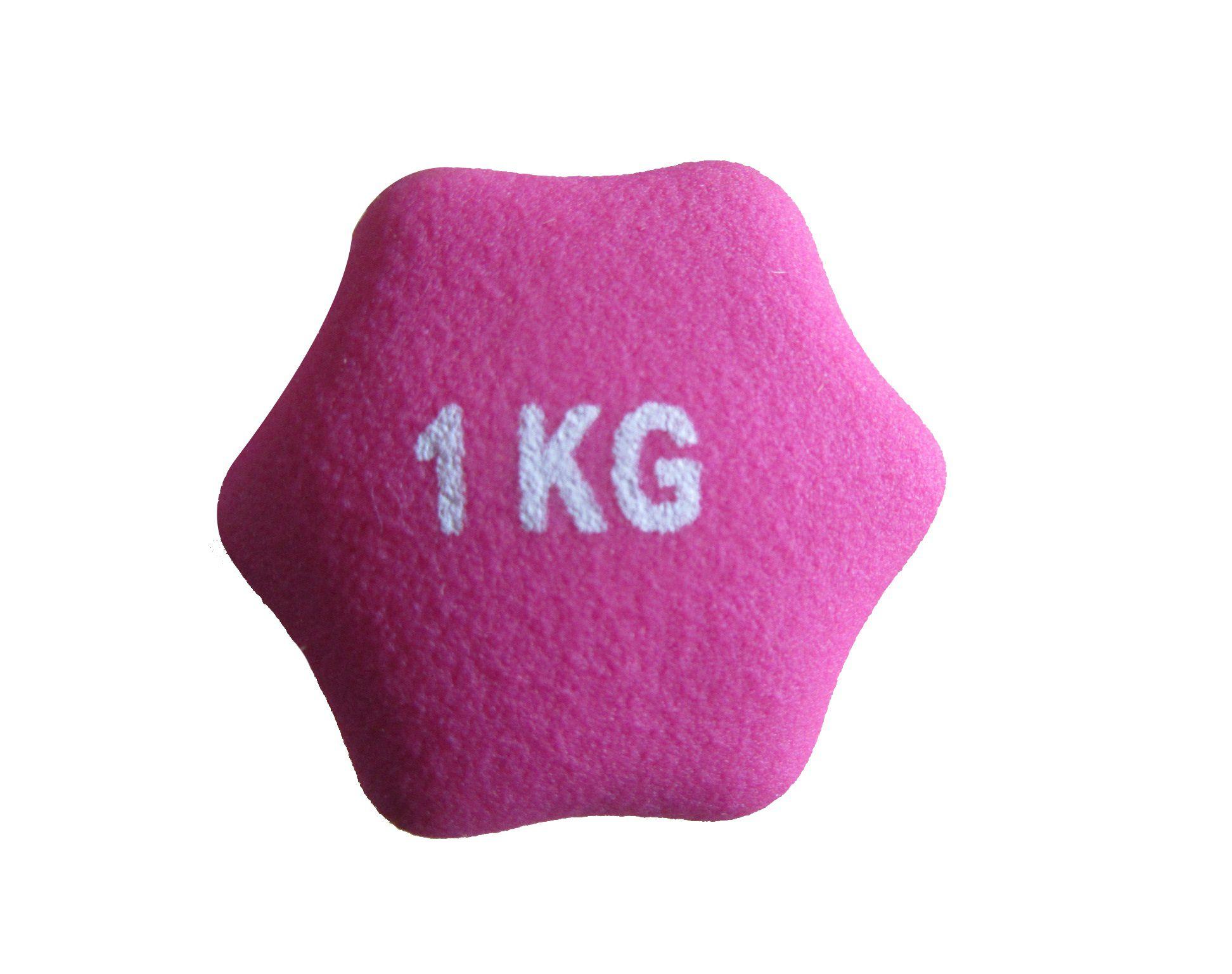 Kit 2 Halteres em Ferro Fundido Revestido com Neoprene Pelegrin PEL-001D 1kg - Rosa