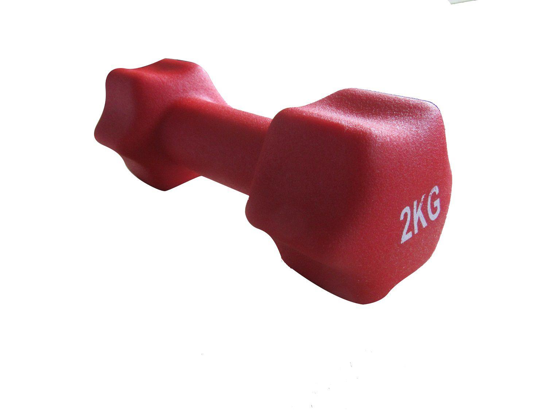Kit 2 Halteres em Ferro Fundido Revestido com Neoprene  Pelegrin PEL-002D 2kg - Vermelho