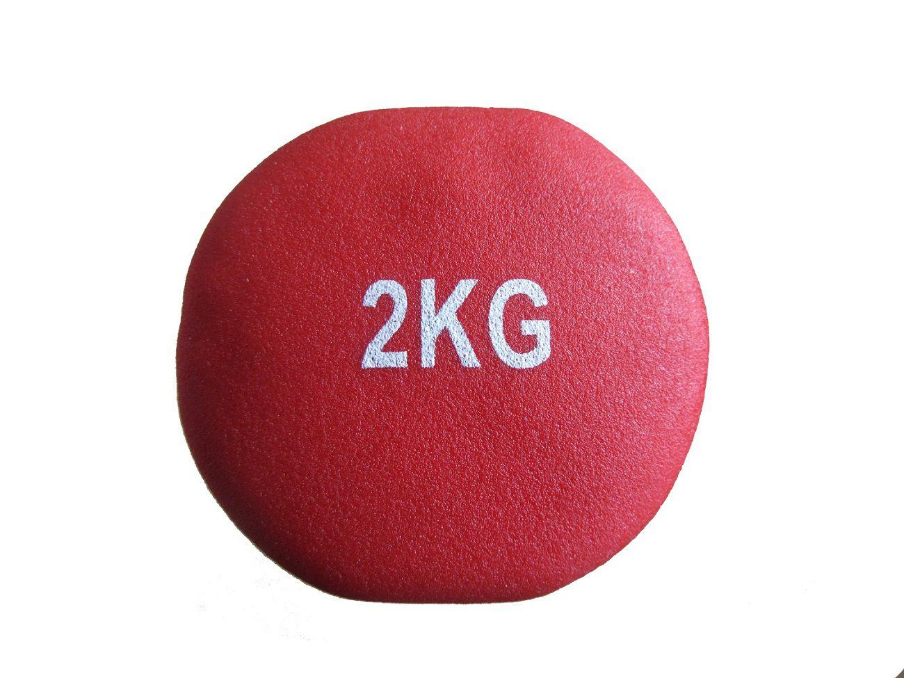 Kit 2 Halteres em Ferro Fundido Revestido com Neoprene Pelegrin PEL-02DB 2kg - Vermelho