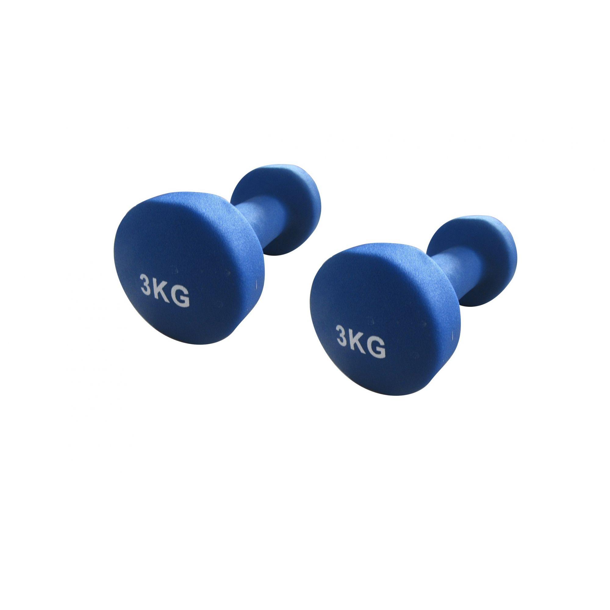 Kit 2 Halteres em Ferro Fundido Revestido com Neoprene Pelegrin PEL-03DB 3kg - Azul