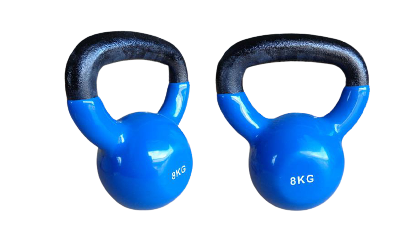 Kit 2 Halteres Kettlebell em ferro fundido Pelegrin PEL-08KB Emborrachado 8kg - Azul
