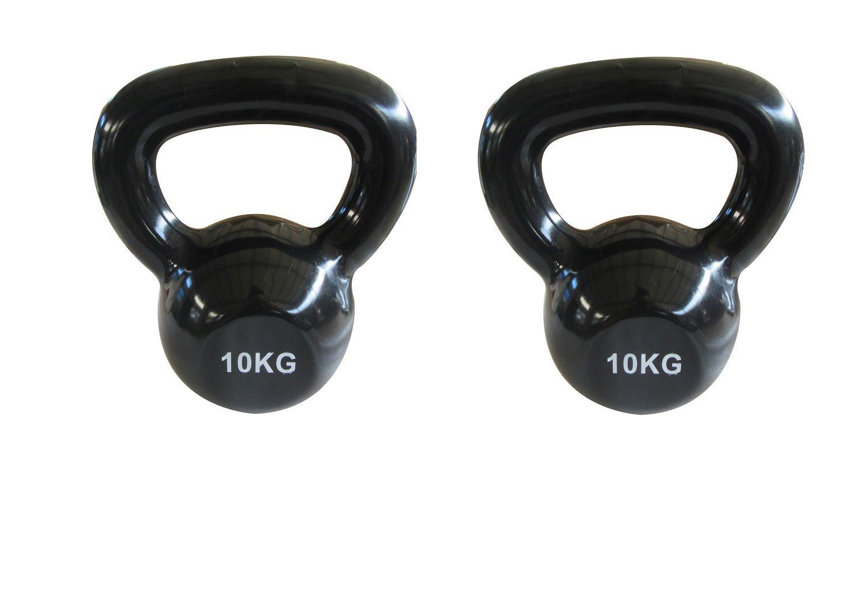 f5a0aca0d Kit 2 Halteres Kettlebell em ferro fundido Pelegrin PEL-10KB Emborrachado  10kg - Preto ...