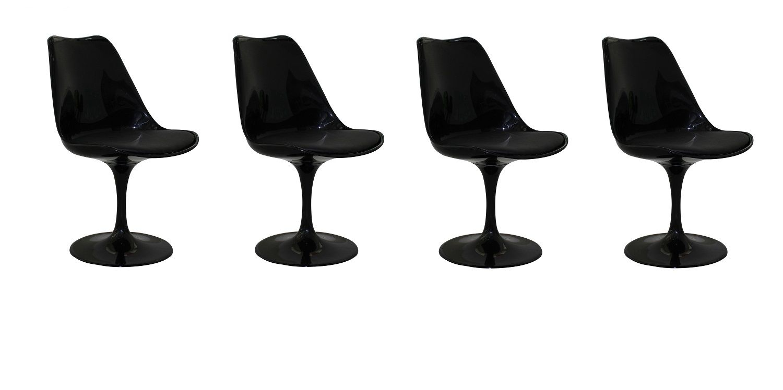 Kit 4 Cadeiras Design Saarinen Pelegrin PEL 1855H Giratória Preta em ABS