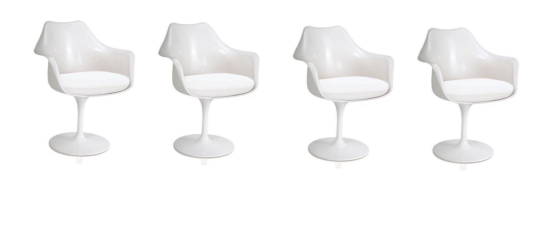Kit 4 Cadeiras Design Saarinen Pelegrin PEL-1866H Giratória Branca em ABS com Apoio de Braço