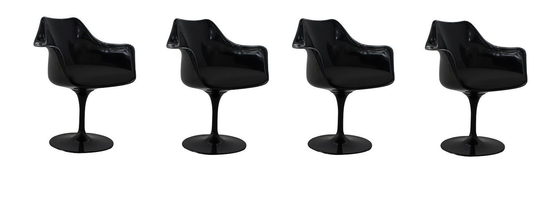 Kit 4 Cadeiras Design Saarinen Pelegrin PEL-1866H Giratória Preta em ABS com Apoio de Braço