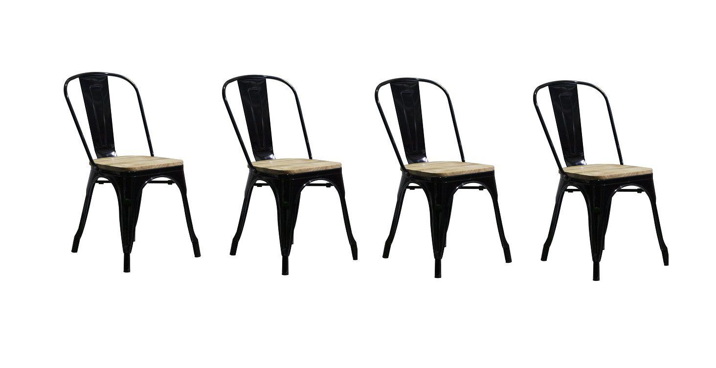 Kit 4 Cadeiras Design Tolix Metal Assento em Madeira Pelegrin PEL-1520 Preta