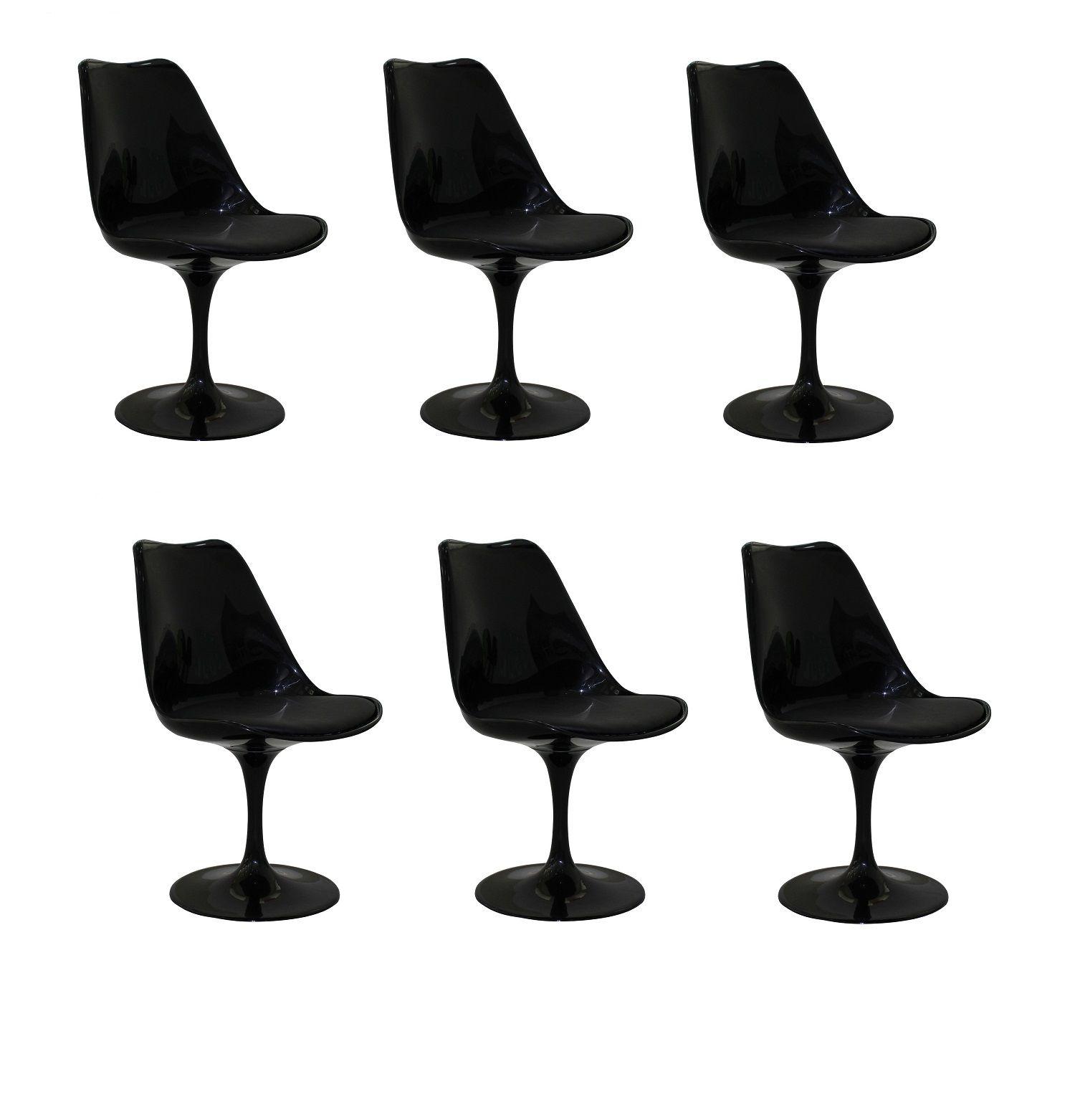 Kit 6 Cadeiras Design Saarinen Pelegrin PEL-1855H Giratória Preta em ABS