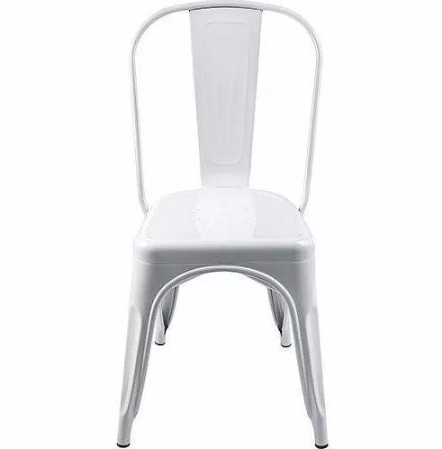 KIT 6 Cadeiras Design Tolix Branca Industrial Vintage Metal - Orb