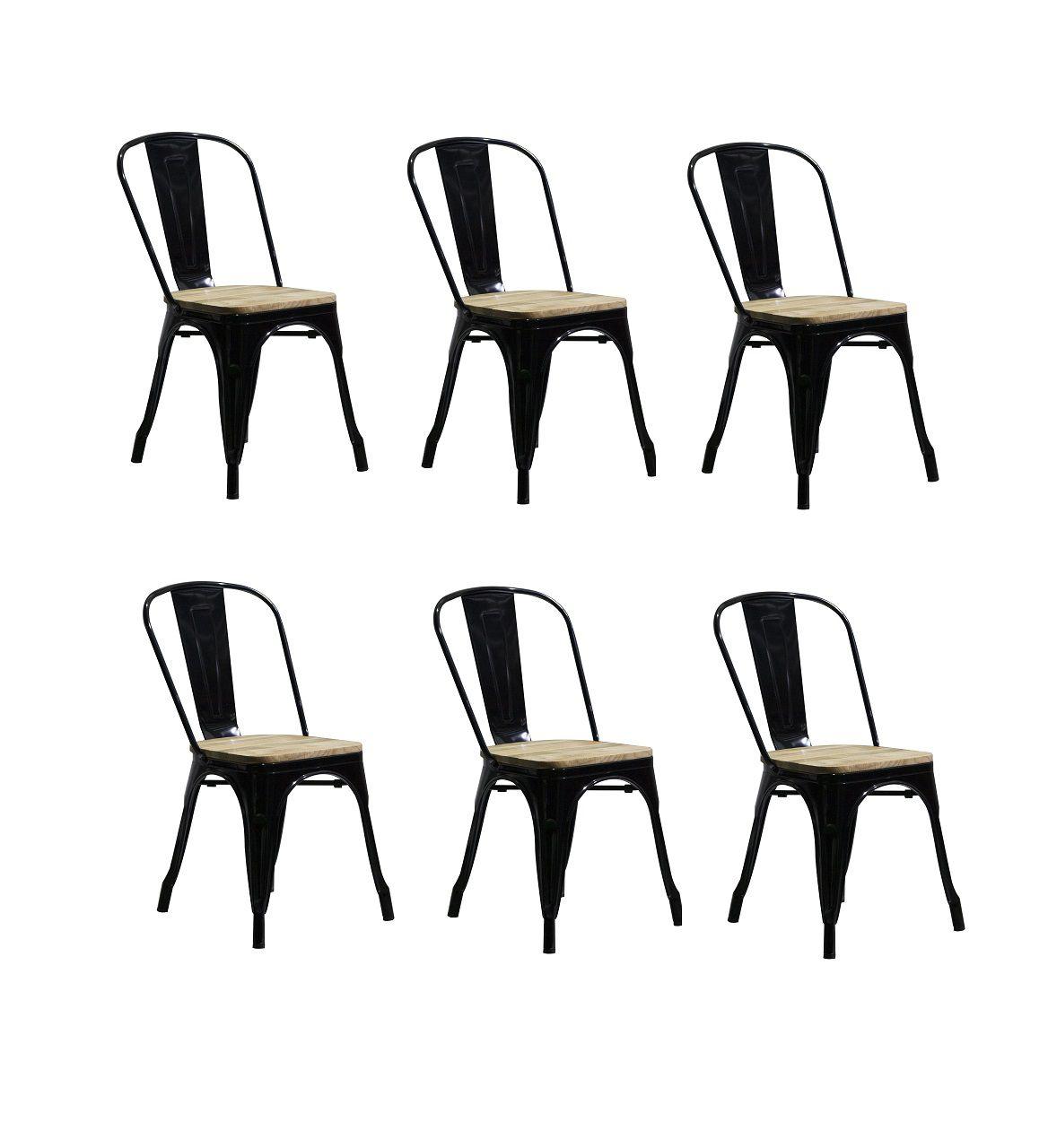 Kit 6 Cadeiras Design Tolix Metal Assento em Madeira Pelegrin PEL-1520  Preta
