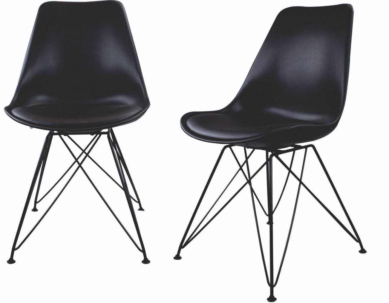 Kit com 2 Cadeiras Charles Eames Eiffel Preta Base Metal Pelegrin Pw-075