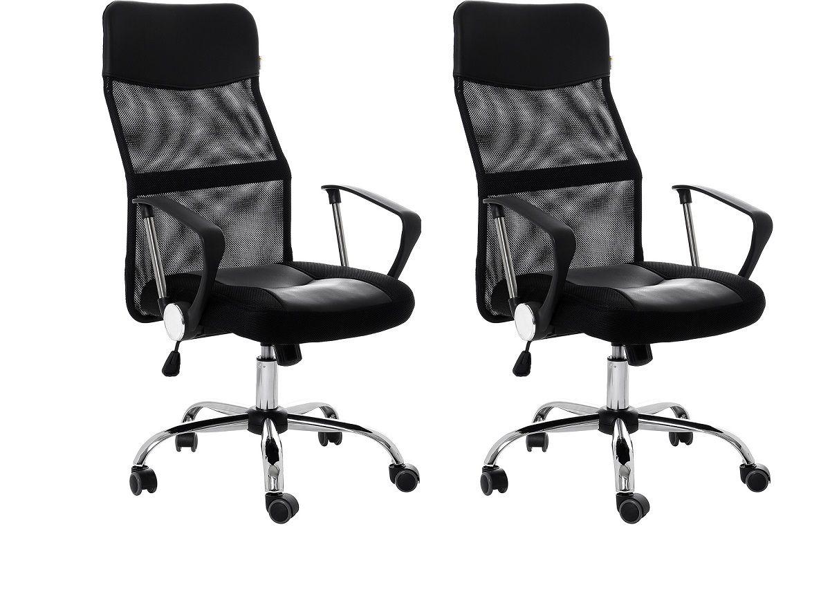 Kit com 2 Cadeiras de Escritório Presidente Giratória  Preto Regulagem de Altura a Gás Tela