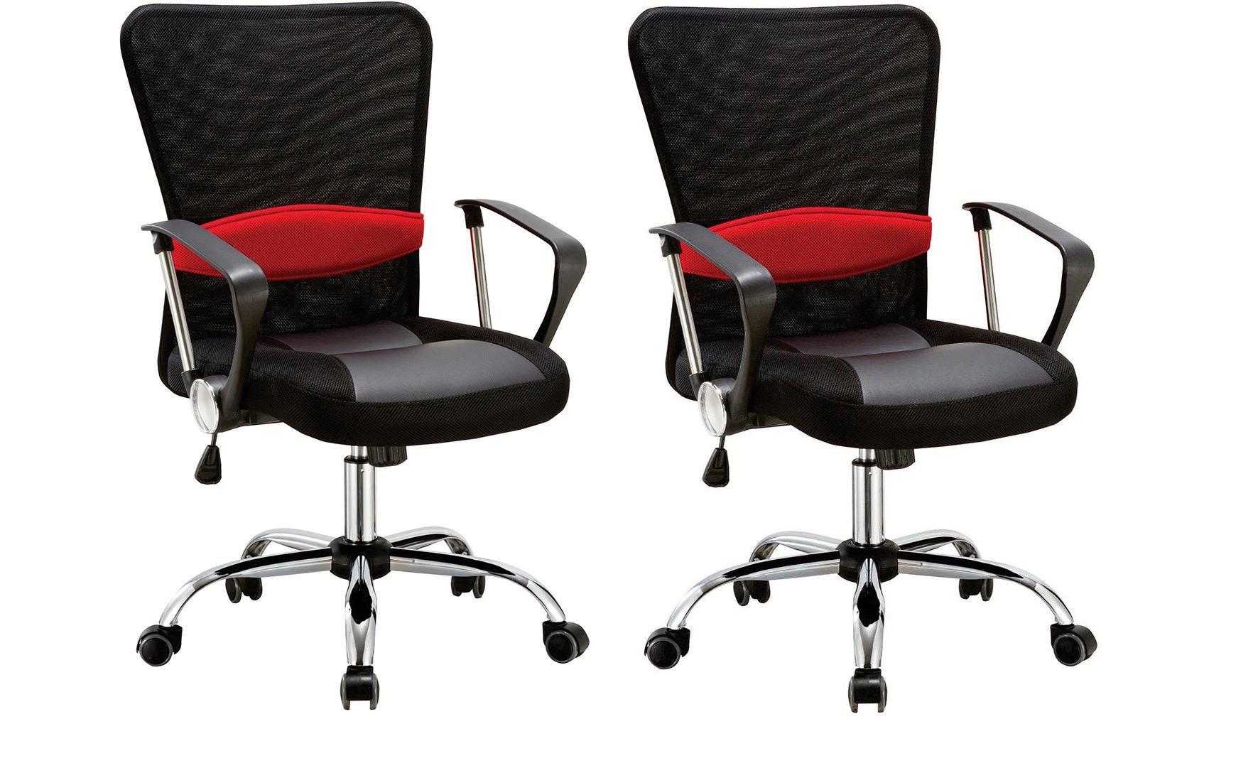 Kit com 2 Cadeiras Escritório Executiva Giratória Contract Preto Regulagem De Altura a Gás Tela