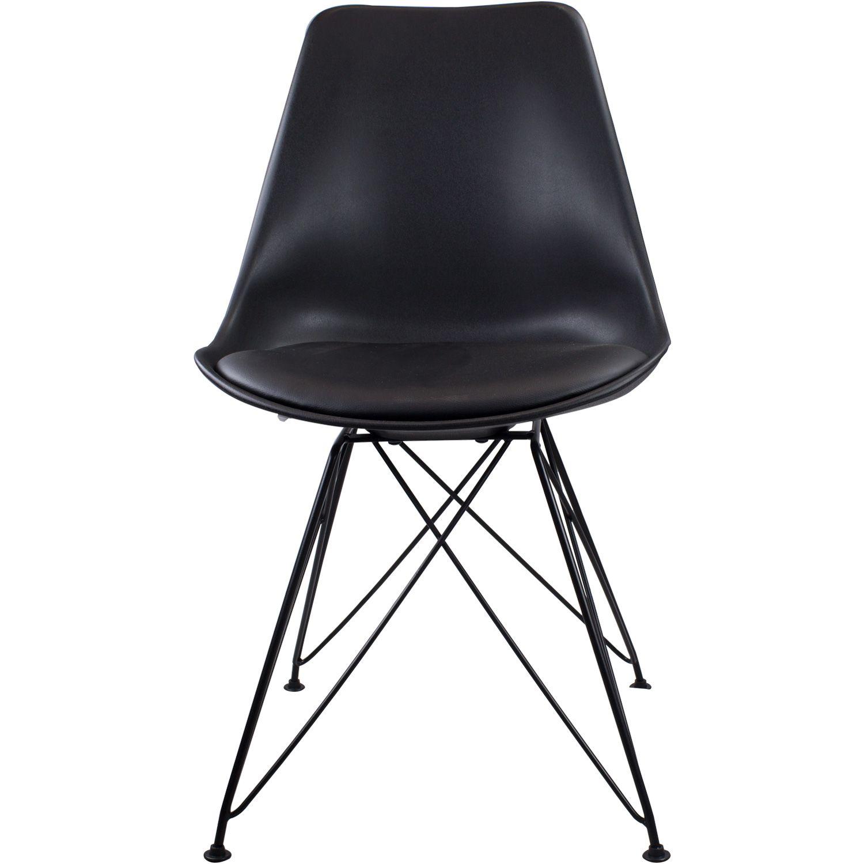 Kit com 4 Cadeiras Charles Eames Eiffel Preta Base Metal Pelegrin Pw-075