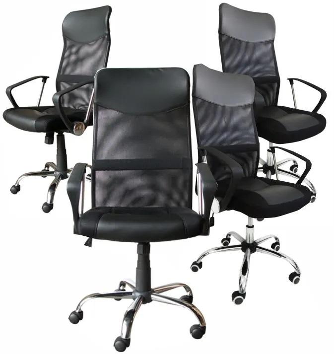 KIT com 4 Cadeiras Presidente em Tela Mesh PEL-8009 Preta - 91211