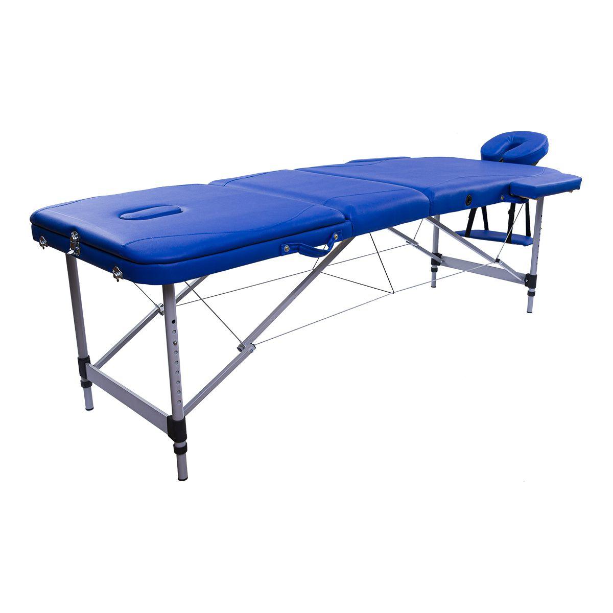Maca Portátil Dobrável e Reclinável Pelegrin PEL-5533 em Couro PU Azul