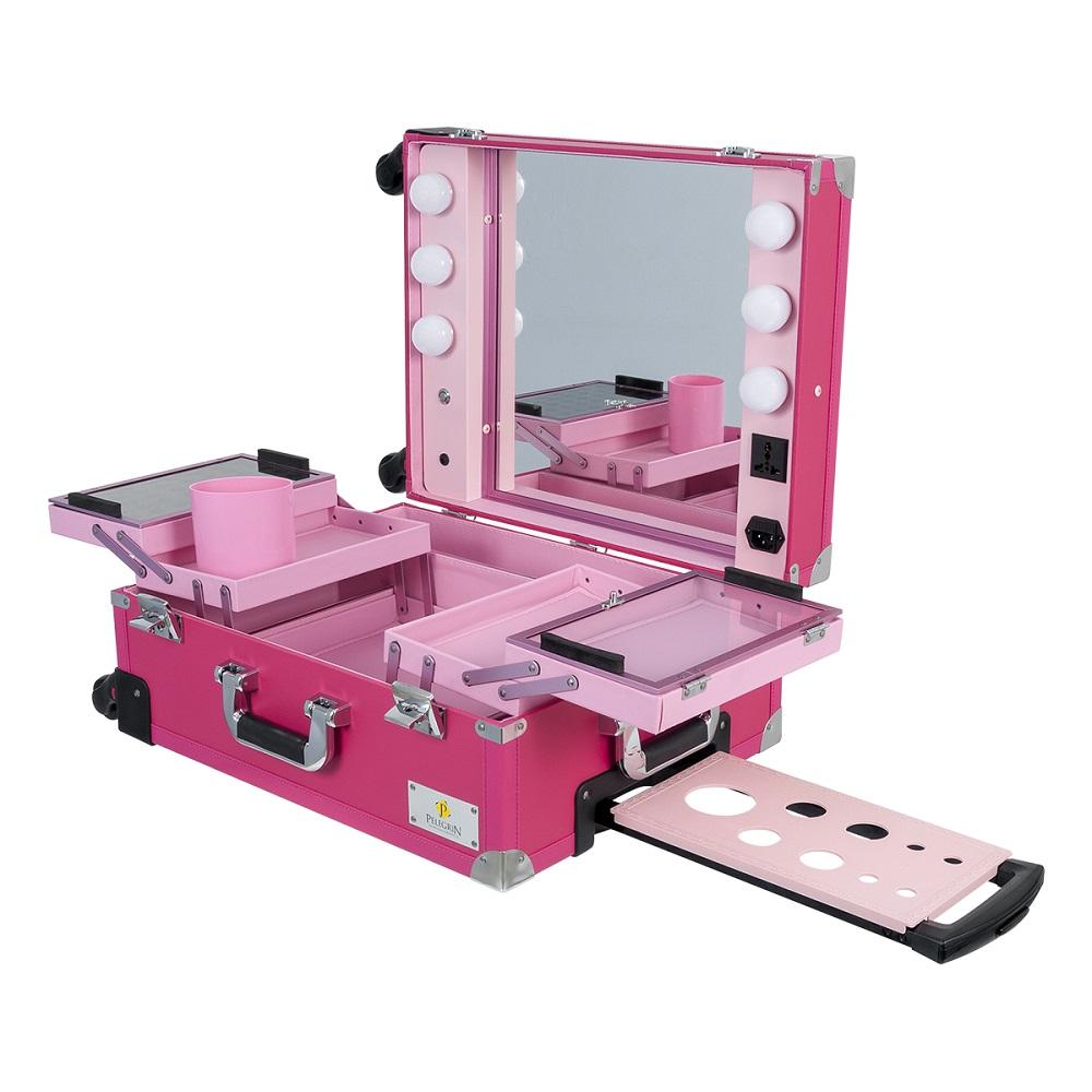 Maleta Maquiagem Camarim LED ABS Couro PU PEL-M1030 Rosa