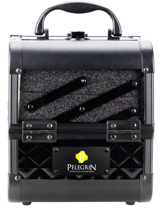 Maleta Maquiagem Joias Alumínio e Acrílico Pelegrin PEL-M1010 Preta