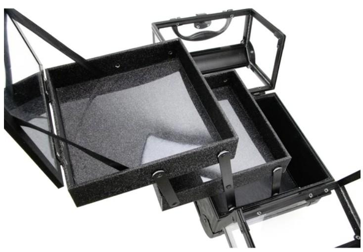 Maleta Maquiagem Jóias Alumínio e Acrílico Pelegrin PEL-M1010 Preta
