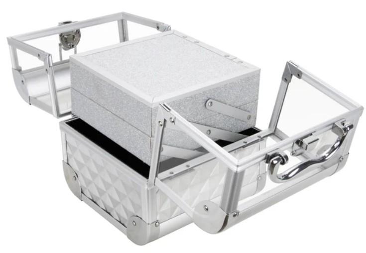 Maleta Maquiagem Jóias Alumínio e Acrílico Pelegrin PEL-M1011 Prata