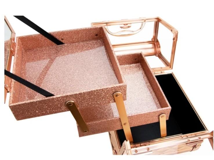 Maleta Maquiagem Jóias Alumínio e Acrílico Pelegrin PEL-M1012 Rose Gold