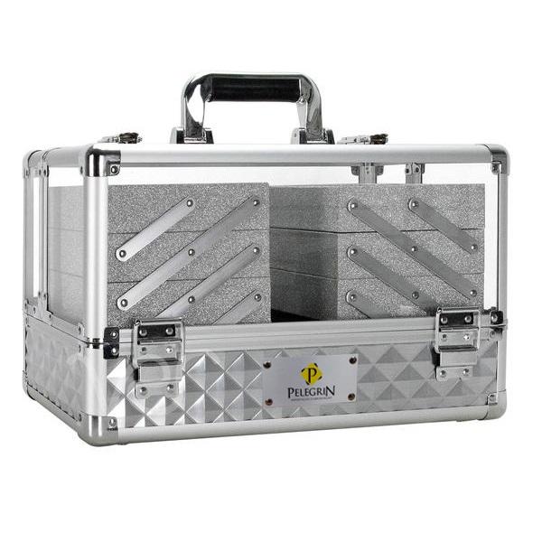 Maleta Maquiagem Jóias Alumínio e Acrílico Pelegrin PEL-M1019 Prata