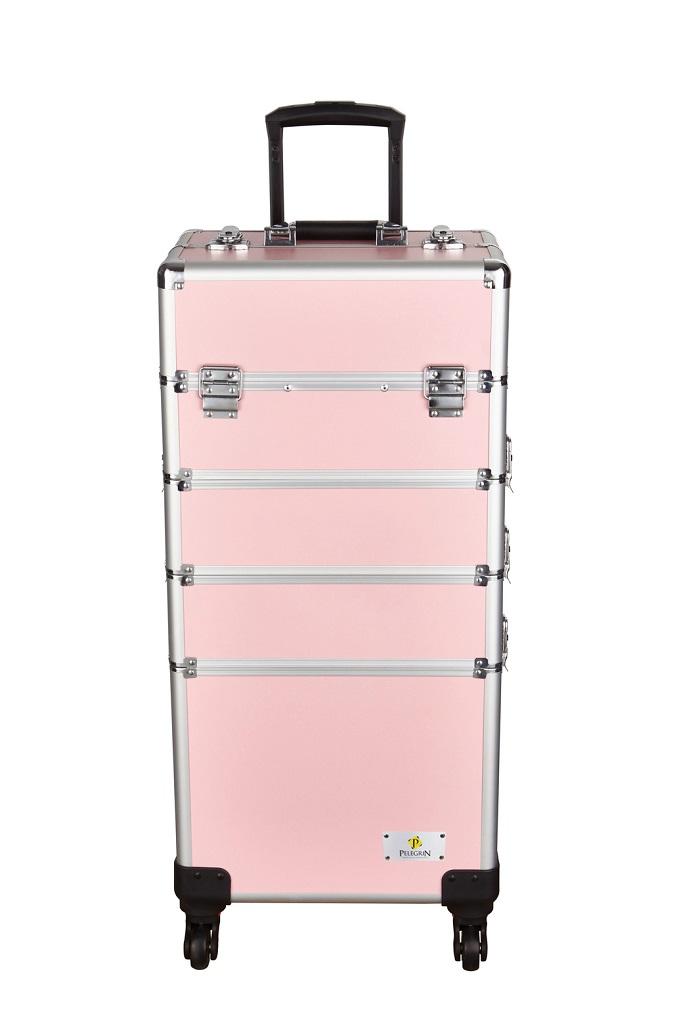 Maleta Maquiagem Jóias Manicure Alumínio ABS PEL-M1033 Rosa