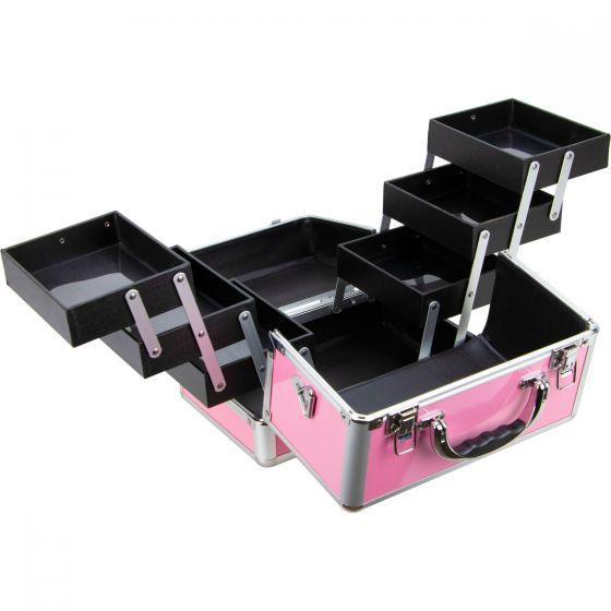 Maleta Maquiagem Jóias Manicure Alumínio ABS Pelegrin PEL-M1009 Rosa