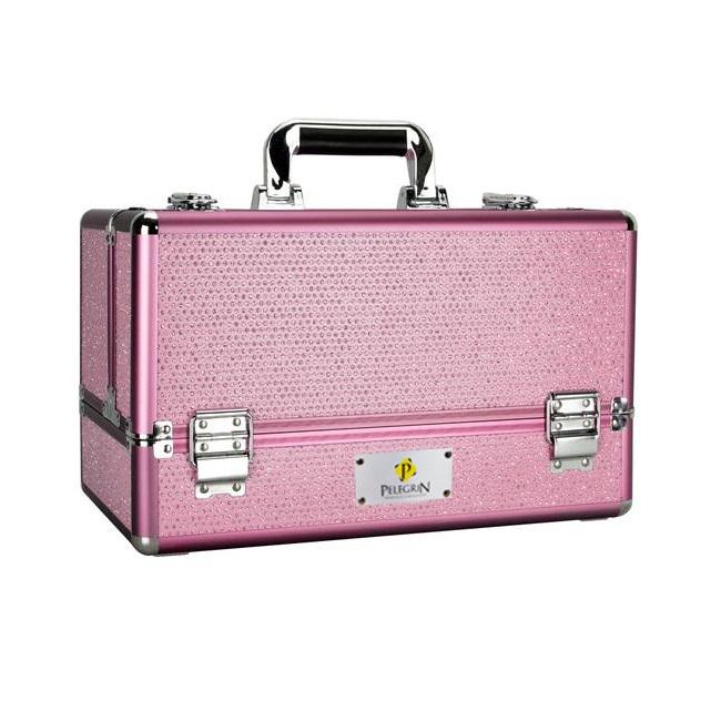 Maleta Maquiagem Jóias Manicure Alumínio ABS Pelegrin PEL-M1015 Rosa Cristal