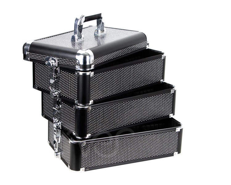 Maleta Maquiagem Profissional Alumínio ABS 4 em 1 Pelegrin PEL-M1024 Preta Cristal