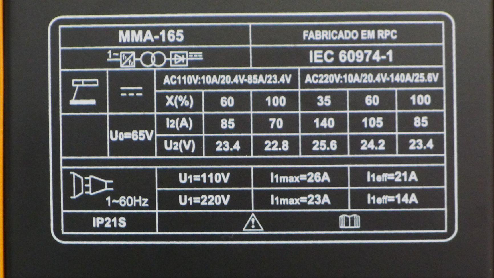 Máquina de Solda Inversora MMA 165 Bivolt Pelegrin