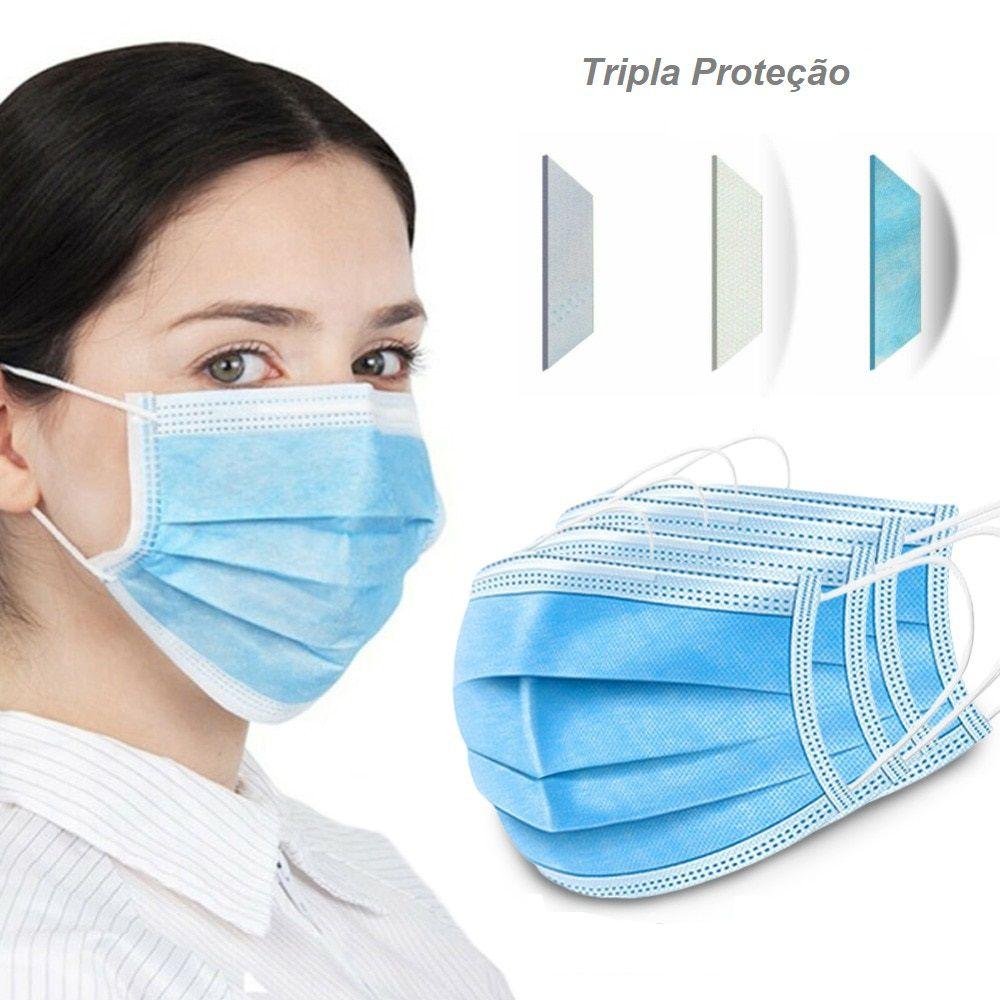 Máscara Descartável Proteção Tripla com Elástico e Clip Nasal - 100 Unidades
