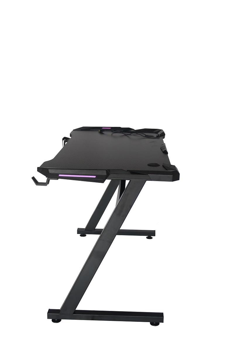 Mesa Gamer LED Pelegrin PEL-004P Preta Metal e MDF