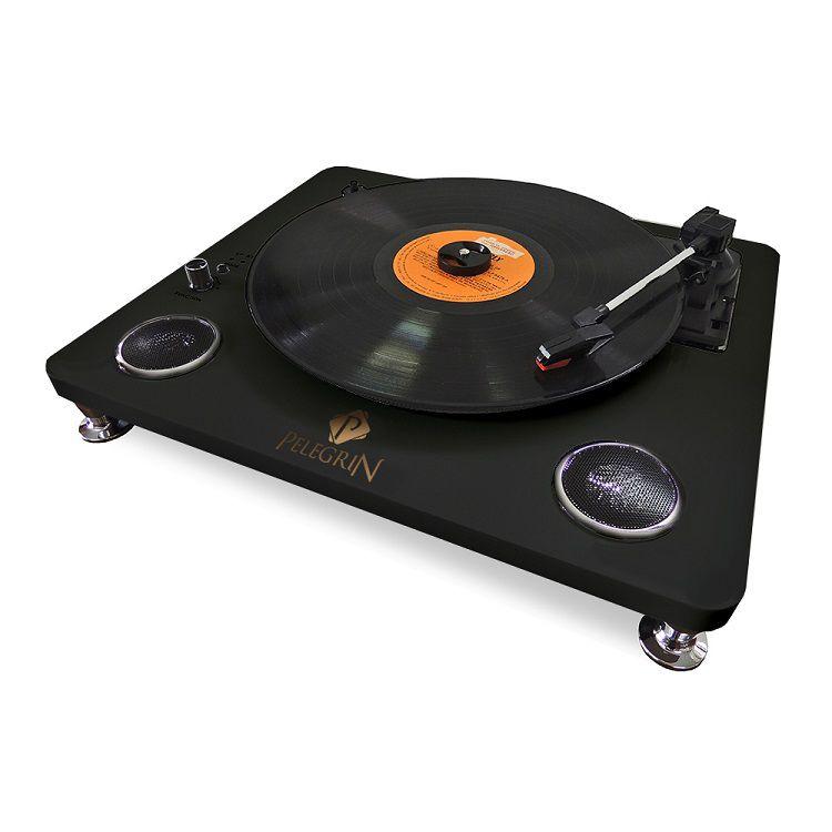 Toca Discos PEL-103A Vinil com Bluetooth e Alto Falantes Internos Cor Preta