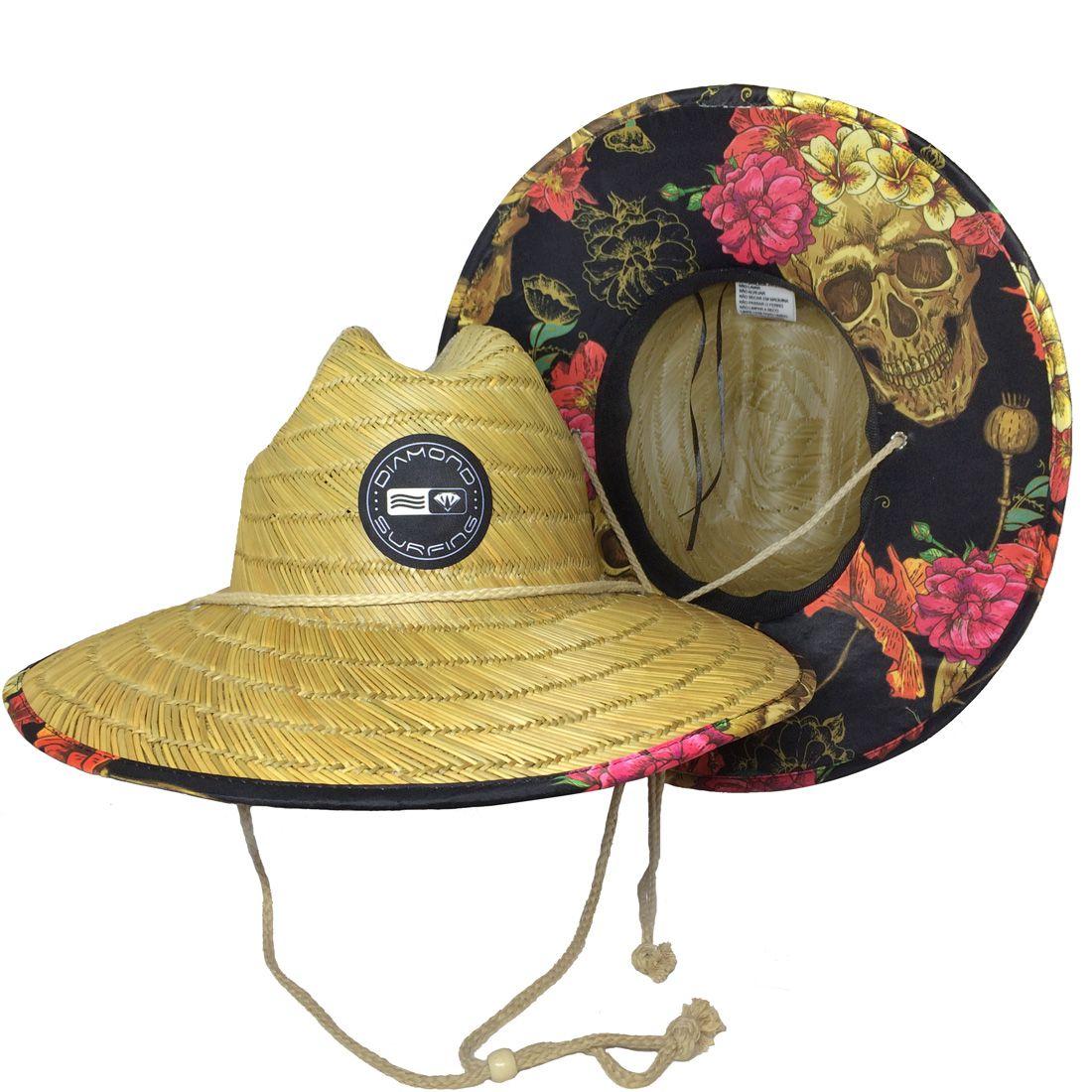 Chapéu de Palha Diamond Surfing - Skull Floral
