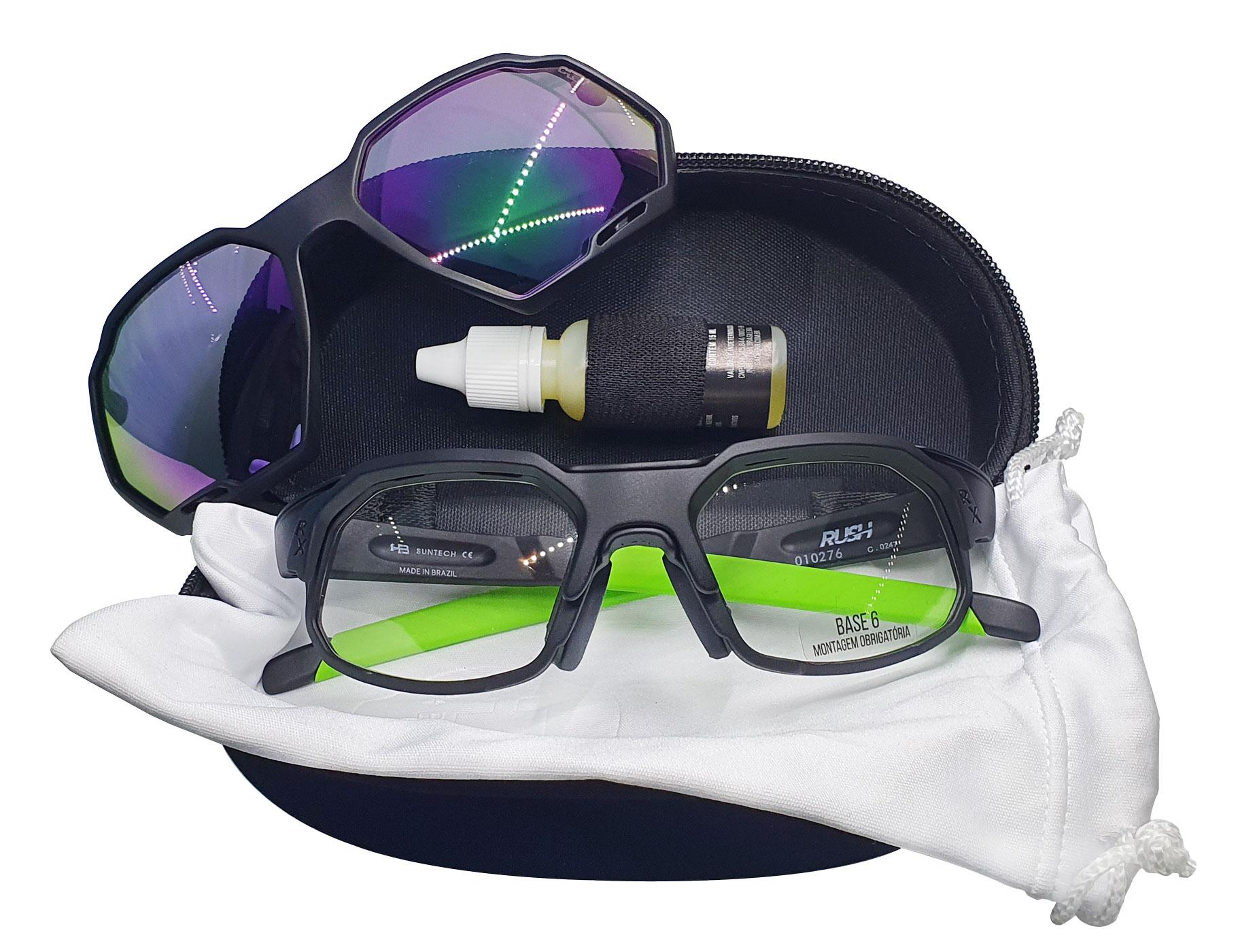 Óculos de Grau HB Rush Clip On Matte Black/Green Chrome