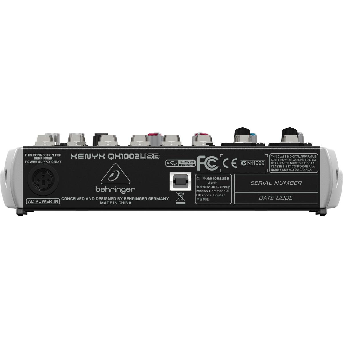 Mesa de Som 10 Canais Balanceados (2 XLR + 8 P10) c/ USB / Efeito / Phantom / 1 Auxiliar Xenyx QX 1002 USB - Behringer