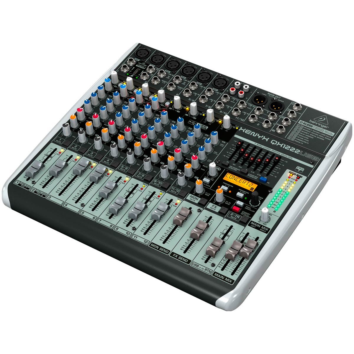 Mesa de Som 12 Canais (6 XLR + 2 P10 Balanceados + 4 P10 Desbalanceados) c/ USB / Efeito / Phantom / 2 Auxiliares Xenyx QX 1222 USB - Behringer