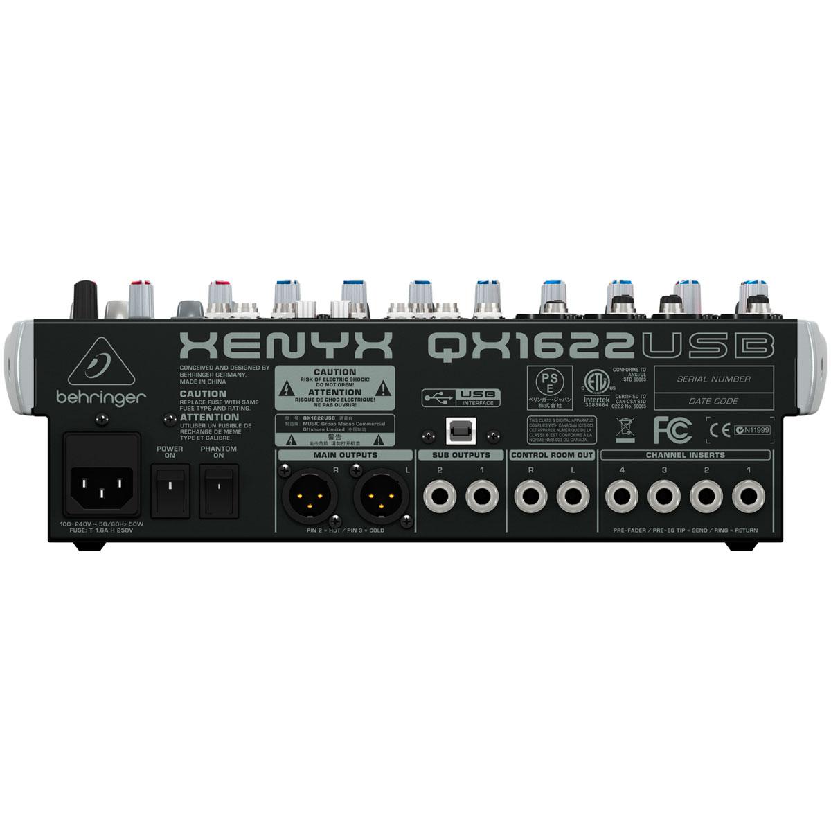 Mesa de Som 16 Canais Balanceados (4 XLR + 12 P10) c/ USB / Efeito / Phantom / 2 Auxiliares Xenyx QX 1622 USB - Behringer