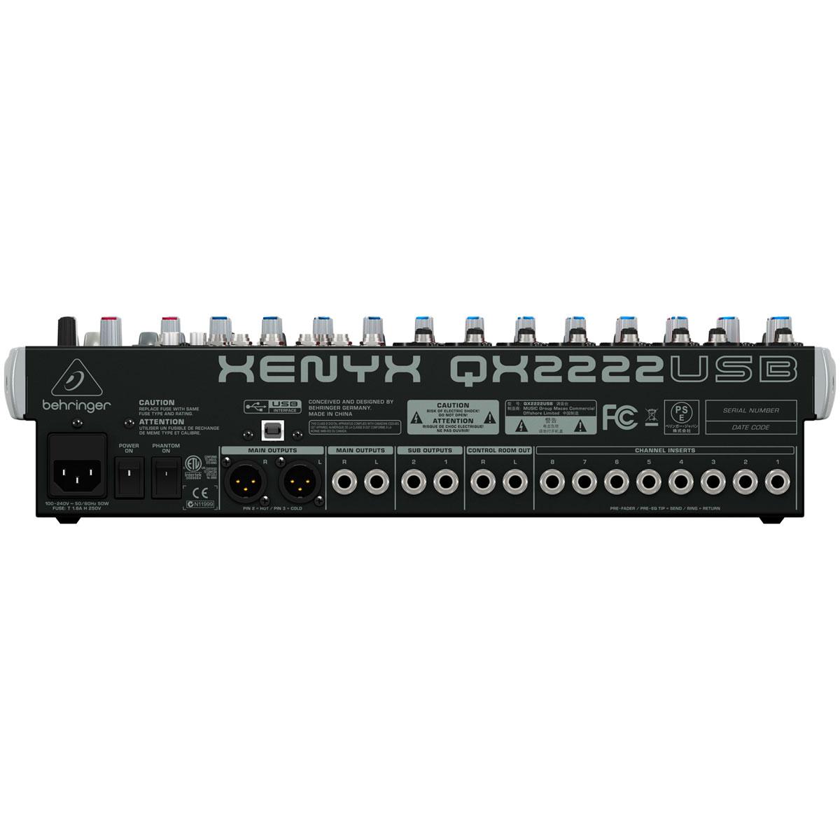 Mesa de Som 22 Canais Balanceados (8 XLR + 14 P10) c/ USB / Efeito / Phantom / 3 Auxiliares Xenyx QX 2222 USB - Behringer