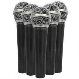 CSR585 - Kit 5 Microfones c/ Fio de Mão CSR 58 5 - CSR