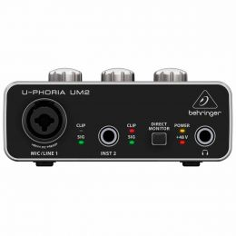 Interface de Áudio 2 IN x 2 OUT c/ USB U-Phoria UM2 - Behringer