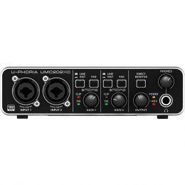 Interface de Áudio 2 IN x 2 OUT c/ USB U-PHORIA UMC202HD - Behringer