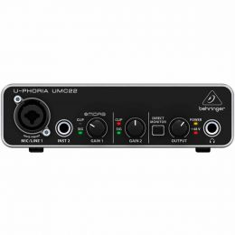 Interface de Áudio 2 IN x 2 OUT c/ USB U-Phoria UMC22 - Behringer